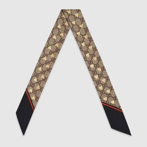 NEW Gucci Gg Bees Silk Neck Bow Scarf